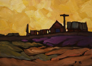 "SOLD ""Farm Shapes"" by Phil Buytendorp 5 x 7 - oil $500 Unframed"