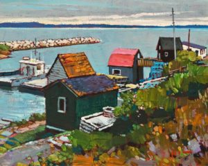 "SOLD ""Fishing Village, Nova Scotia"" by Min Ma 8 x 10 - acrylic $845 Unframed $1100 in show frame"