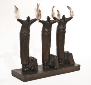 """""""Flight School for Existentialists,"""" by Michael Hermesh 14 (H) x 14 (L) x 5 (W) - bronze and feathers Edition of 15 $4500"""