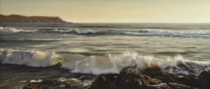 "SOLD ""Flood Tide,"" by Ray Ward 18 x 42 – oil $3450 Unframed"