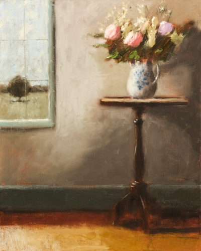 "SOLD ""Flowers by the Window,"" by Paul Healey 16 x 20 - oil $1250 Unframed (Framing is available)"