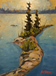 "SOLD ""Great Slave Lake Eve"" by Graeme Shaw 6 x 8 - oil $435 Unframed"