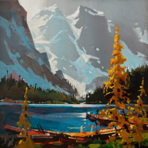 "SOLD ""Grey Blue Atmosphere,  Moraine Lake"" by Michael O'Toole 14 x 14 – acrylic $1060 Unframed"
