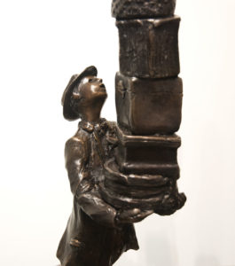 """The Hat Box Man,"" by Michael Hermesh 25 1/2 (H) x 9 (L) x 6"" (W) - bronze Edition of 15 $5000"