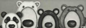 """SOLD """"It's the Bear Necessities,"""" by Peter Wyse 8 x 24 - acrylic $1120 (unframed panel with 1 1/2"""" edges)"""