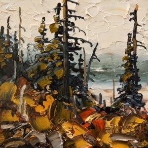"SOLD ""Kootenay Lake Outcrop"" by Rod Charlesworth 6 x 6 – oil $475 Unframed"