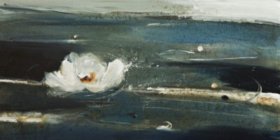 """Late Bloomer,"" by Susan Flaig 15 x 30 - acrylic/graphite $1250 Unframed"