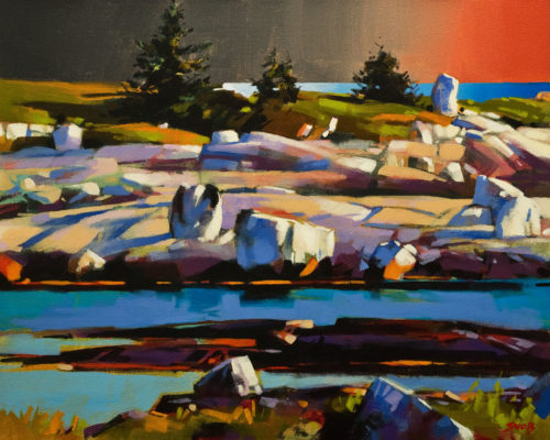 "SOLD ""Late Light Near Peggy's Cove,"" by Mike Svob 16 x 20 - acrylic $2100 Unframed"