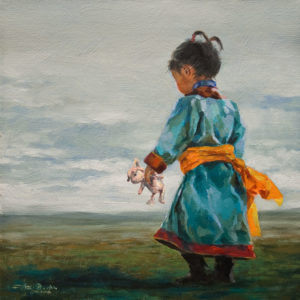 "SOLD ""Mongolian Morning"" by Donna Zhang 12 x 12 - oil $1220 Unframed $1600 in show frame"
