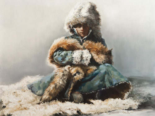 "SOLD ""The Mongolian Prince,"" by Donna Zhang 30 x 40 - oil $6700 Unframed"