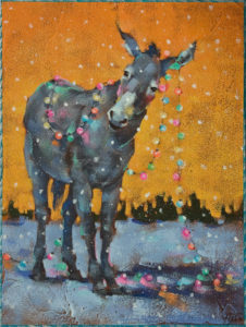 """Muletide"" by Angie Rees 9 x 12 - acrylic $650 (unframed panel with 1 1/2"" edges)"