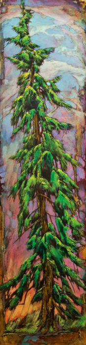 "SOLD ""Never Too Tall,"" by David Langevin 18 x 72 - acrylic $4100 (thick canvas wrap with painted edges)"