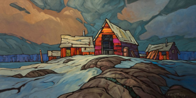 "SOLD ""Northern Suburb,"" by Phil Buytendorp 18 x 36 - oil $2100 Unframed"