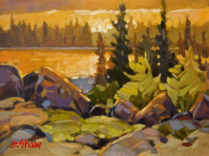 "SOLD ""N.W.T. Golden Hour"" by Graeme Shaw 6 x 8 - oil $435 Unframed $600 in show frame"