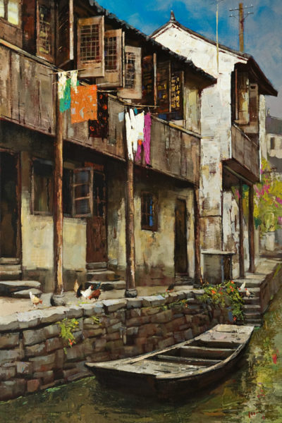 "SOLD ""The Old Residence,"" by Min Ma 24 x 36 - acrylic $4630 Unframed"