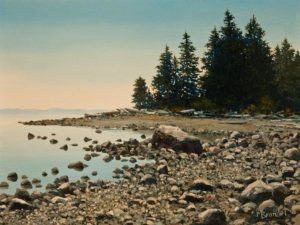"SOLD ""Oyster Beach"" by Merv Brandel 9 x 12 - oil $1025 Unframed $1225 in show frame"