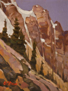 """Peaks Above the Lake"" by Graeme Shaw 6 x 8 - oil $435 Unframed"