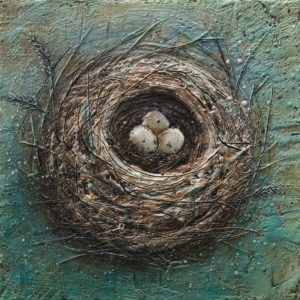 "SOLD ""Perfect Trio"" by Brenda Walker 10 x 10 – encaustic $350 (panel with 1 1/2"" edges)"