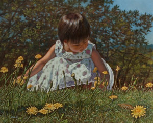 "SOLD ""Picking the Dandelion Blossoms"" by Don Li 8 x 10 - oil $1200 Unframed $1400 in show frame"