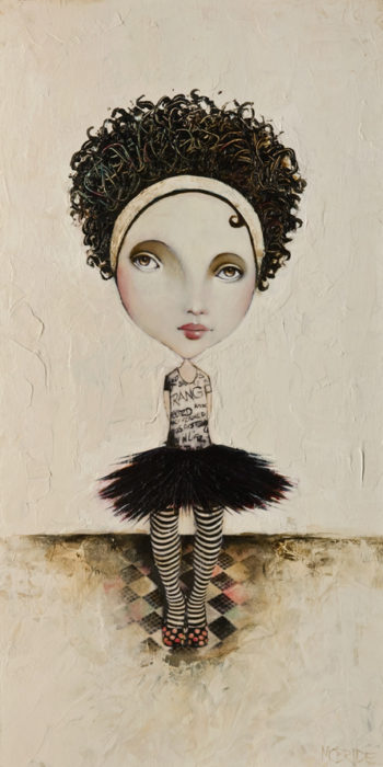 "SOLD ""The Pixie Series: Little Betty,"" by Danny McBride 12 x 24 - acrylic $1260 (panel with 1 1/2"" edges)"