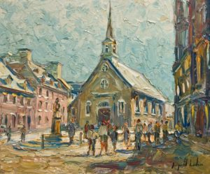 """Place Royale, Vieux Quebec,"" by Raynald Leclerc 20 x 24 - oil $2500 Unframed"
