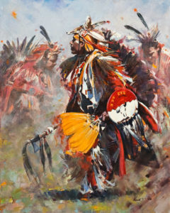 "SOLD ""Pow Wow Celebration, by Clement Kwan 16 x 20 - oil $3300 Unframed"