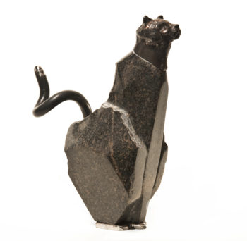 """Pretty Cat,"" by Tobias Luttmer 9 1/2"" (H) x 7 1/2 (L) x 3 1/2 (W) - metal and stone $1750"