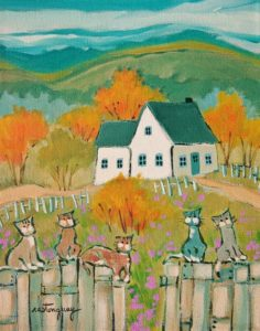 "SOLD ""Quelque Part, Sur la Route"" by Claudette Castonguay 8 x 10 - acrylic $340 Unframed $455 in show frame"