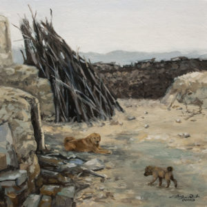 "SOLD ""Quiet Time in the Yard (Study)"" by Donna Zhang 12 x 12 - oil $960 Unframed $1100 in show frame"