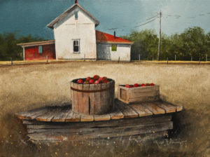 "SOLD ""Roadside Apples"" by Mark Fletcher 9 x 12 - acrylic $740 Unframed"