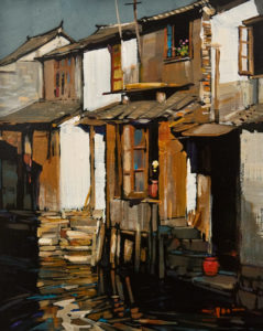 "SOLD ""Row House"" by Min Ma 8 x 10 - acrylic $845 Unframed"