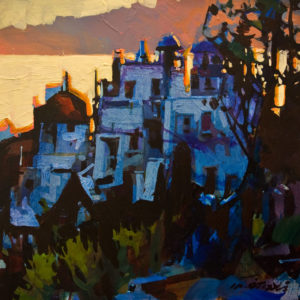 "SOLD ""Santorini"" by Michael O'Toole 10 x 10 – acrylic $685 Unframed"