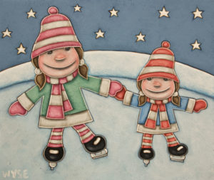 """""""The Skating Sisters"""" by Peter Wyse 10 x 12 - acrylic $770 (unframed panel with 1 1/2"""" edges)"""