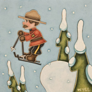 """""""The Ski Patroller"""" by Peter Wyse 8 x 8 - acrylic $540 (unframed panel with 1 1/2"""" edges)"""