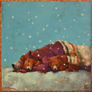 "SOLD ""Slumber Party"" by Angie Rees 8 x 8 - acrylic $425 (unframed panel with 1 1/2"" edges)"