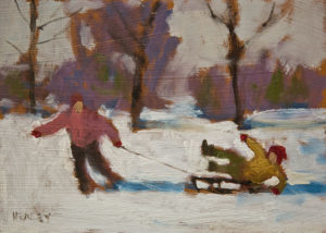 "SOLD ""Snow Day"" by Paul Healey 5 x 7 - oil $275 Unframed"