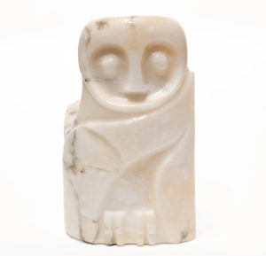 """SOLD """"Snowy Stare,"""" by Marilyn Armitage 11 1/2 (H) x 8 (W) – alabaster $975"""