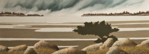 "SOLD ""Summer Squall"" by Ken Kirkby 18 x 48 – oil $2600 Unframed"
