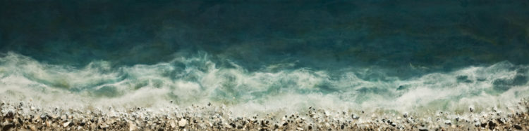 "SOLD ""West Coast No. 211,"" by Brenda Walker 12 x 48 - encaustic and mixed media $1550 (panel with 1 1/2"" edges)"