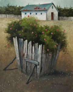 "SOLD ""Wild Roses in the Old Feed Crib"" by Mark Fletcher 8 x 10 - acrylic $550 Unframed $760 in show frame"