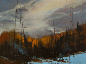"SOLD ""Wind in the Pines"" by David Lidbetter 6 x 8 – oil $600 Unframed"