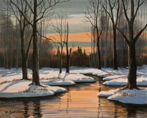 "SOLD ""Winter Sundown"" by Bill Saunders 8 x 10 - acrylic $650 Unframed $870 in show frame"