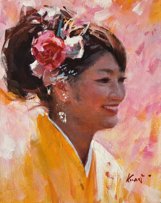 SOLD ``Yellow Kimono`` by Clement Kwan 8 x 10 - oil $1300 Unframed