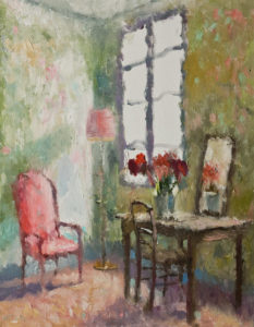 "SOLD ""Flowers in Mirror,"" by Paul Healey 14 x 18 - oil $825 unframed"