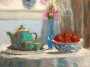 "SOLD ""Teal Teapot,"" by Paul Healey 12 x 16 - oil $700 Unframed"