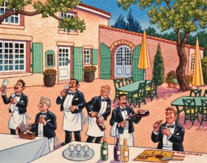 """The Wine Butlers,"" by Michael Stockdale 11 x 14 - acrylic $610 Unframed"