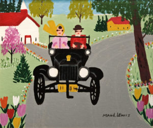 "SOLD ""Street Car""n (circa 1962), by Maud Lewis oil - 12 x 14"