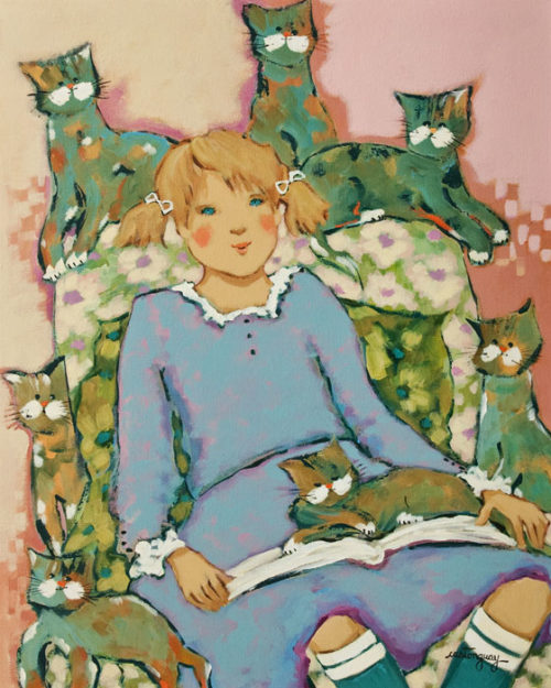 """""""A Beautiful Story for the Cats,"""" by Claudette Castonguay 16 x 20 - acrylic $800 Unframed"""