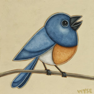"""""""Bluebird,"""" by Peter Wyse 8 x 8 - acrylic $540 (unframed panel with 1 1/2"""" edges)"""
