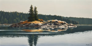 "SOLD ""Cortes Lagoon,"" by Merv Brandel 24 x 48 – oil $5500 (artwork continues onto edges of wide canvas wrap)"